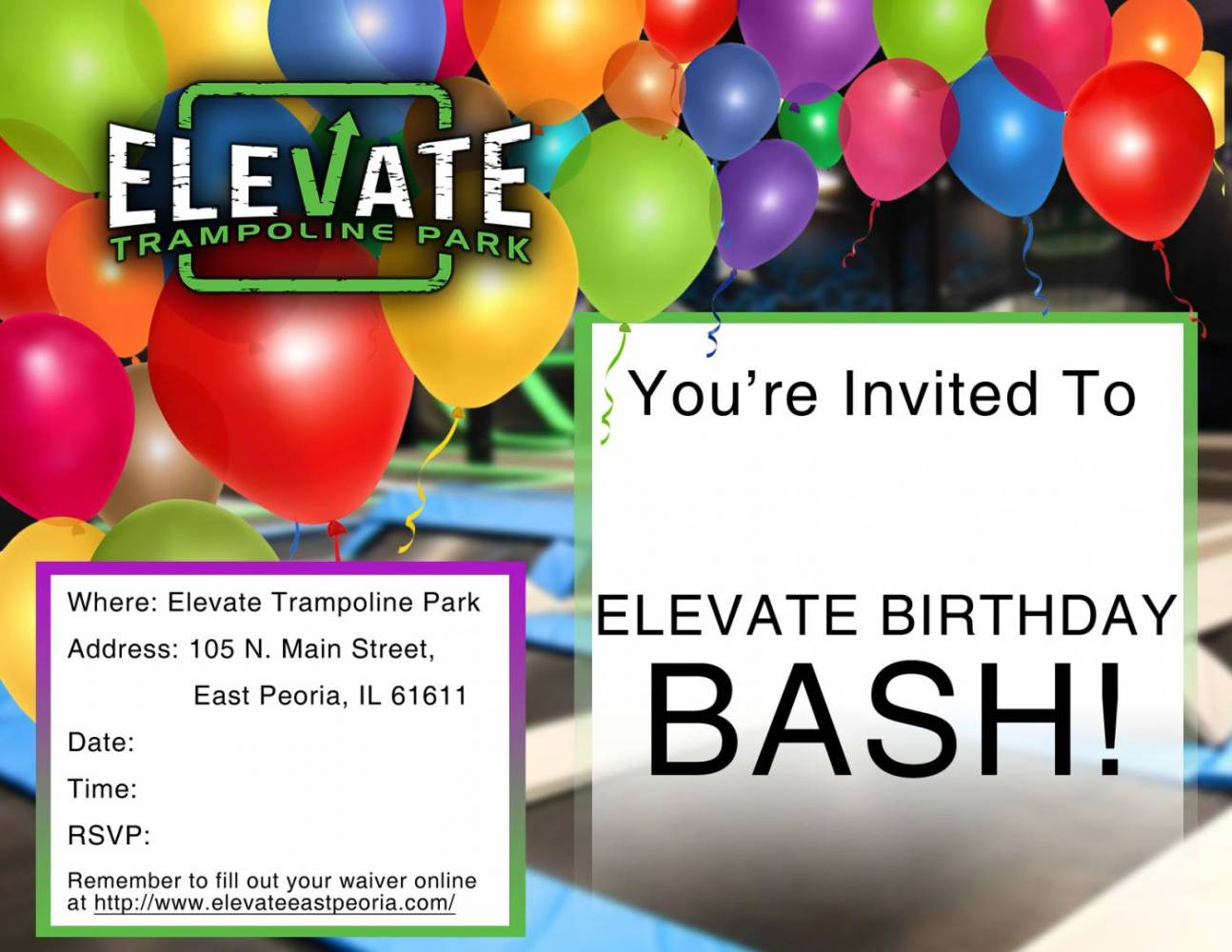 Elevate Birthday Flyer - East Peoria